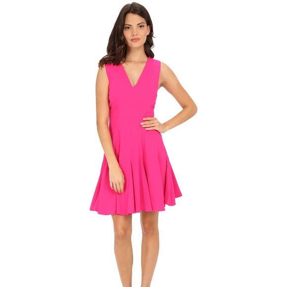 54cad79201052 REBECCA TAYLOR Crepe V Neck Pink Fuschia Dress 4